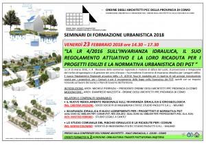 ORDINE ARCHITETTI COMO_Programma SeminarioLR 14_206_Inviarianza idraulica nei progetti e Normativa PGT_23FEB18