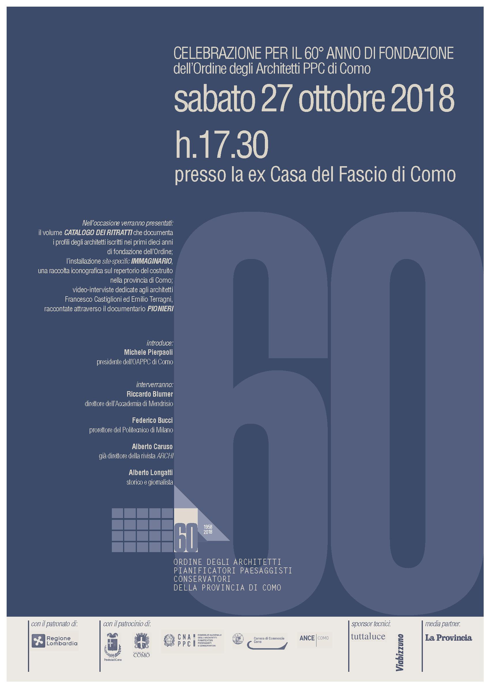 1958 2018 60 fondazione ordine ordine architetti di como for Sito per architetti