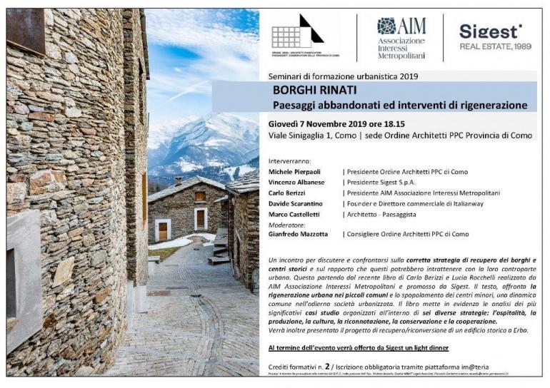 ORDINE ARCHITETTI COMO_SIGEST_AIM_Programma Incontro BORGHI RINATI_7.11.19-2